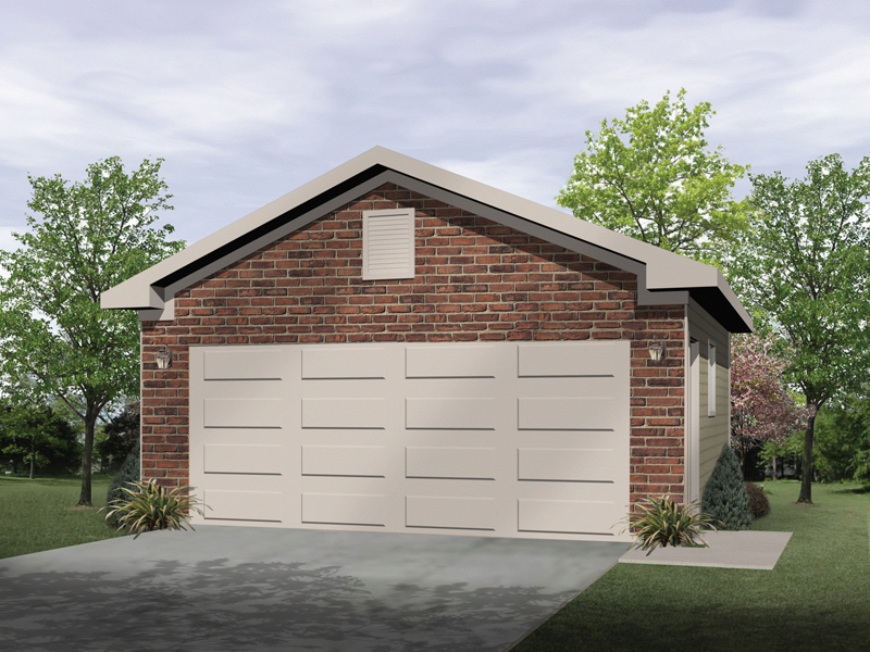 Two-car garage is a stylish structure that will look great with any house plan