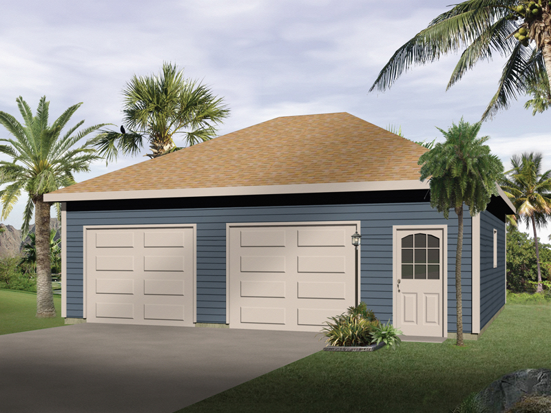 Stylish two-car garage with two separate garage doors and a hip roof design