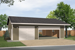 Three-car garage has drive through design and would look great with any house plan