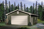 Efficient two-car drive-through garage with siding exterior