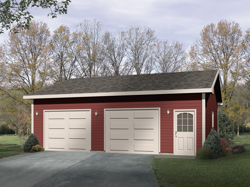 Two-car drive-through garage with front entry door