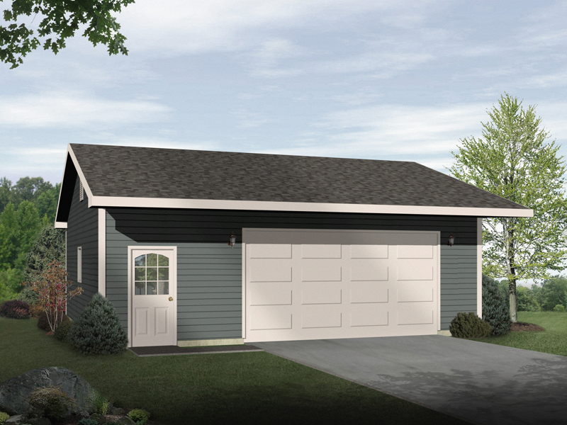 Drive-through two-car garage with front entry door