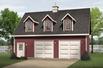 Stylish drive-through two-car garage with triple dormers and roof cupola