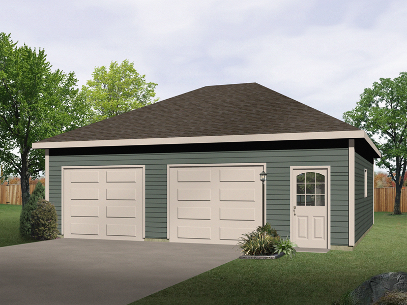 Two-car drive-through garage has an attractive hip roof design and front entry door