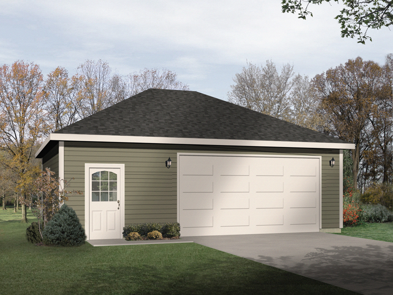 Two-car garage has hip roof design