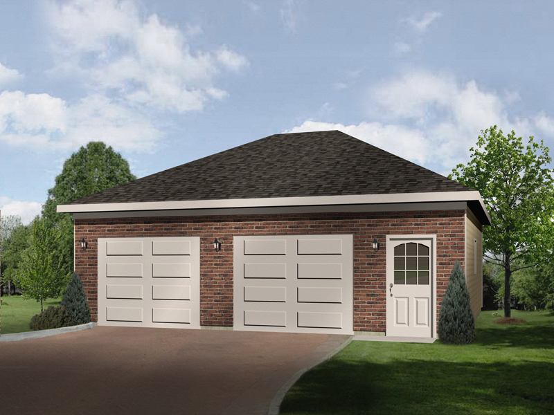 Two-car garage has two separate garage doors and hip roof design
