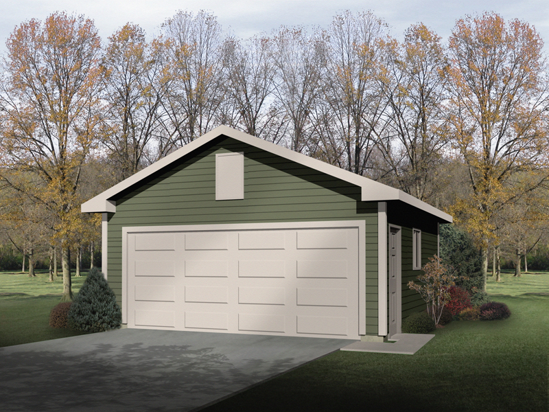Two-car garage has Western style and side door and window for added sunlight