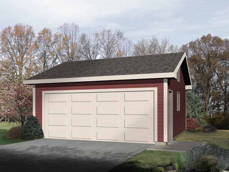 Classic two-car garage with siding exterior