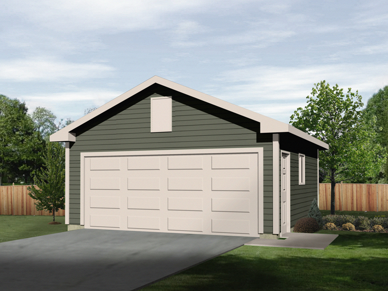 Two-car garage with gabled roof and siding exterior