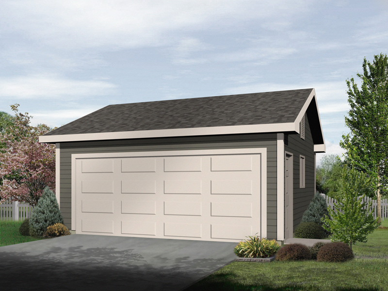 Two-car garage with one large garage door and siding exterior