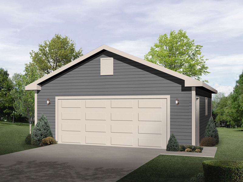 Two-car garage has gabled roof and low-maintenance siding exterior