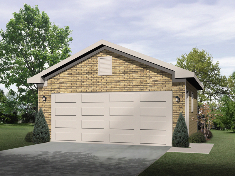 All brick two-car garage design