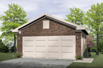All brick two-car garage with one large garage door