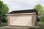Two-car garage has brick exterior for a sturdy low-maintenance style