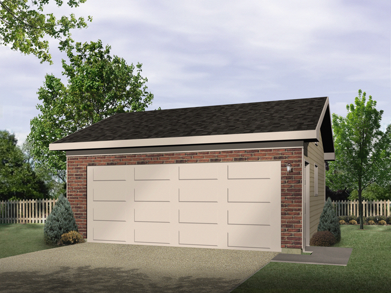 Two-car garage has front brick façade