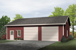 Two-car garage includes workshop space through door