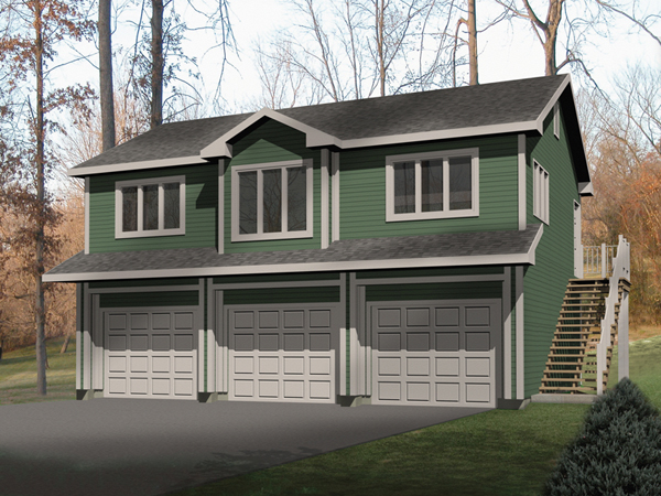 Laycie 3 car garage apartment plan 059d 7504 house plans for Small house over garage plans