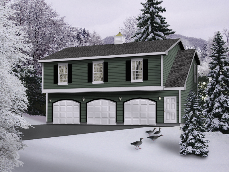 A three-car apartment garage with a colonial style influence