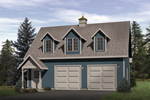 Attractive two-car garage has a covered front porch and triple dormers