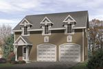 Stylish two-car garage apartment with triple dormers and a covered front porch
