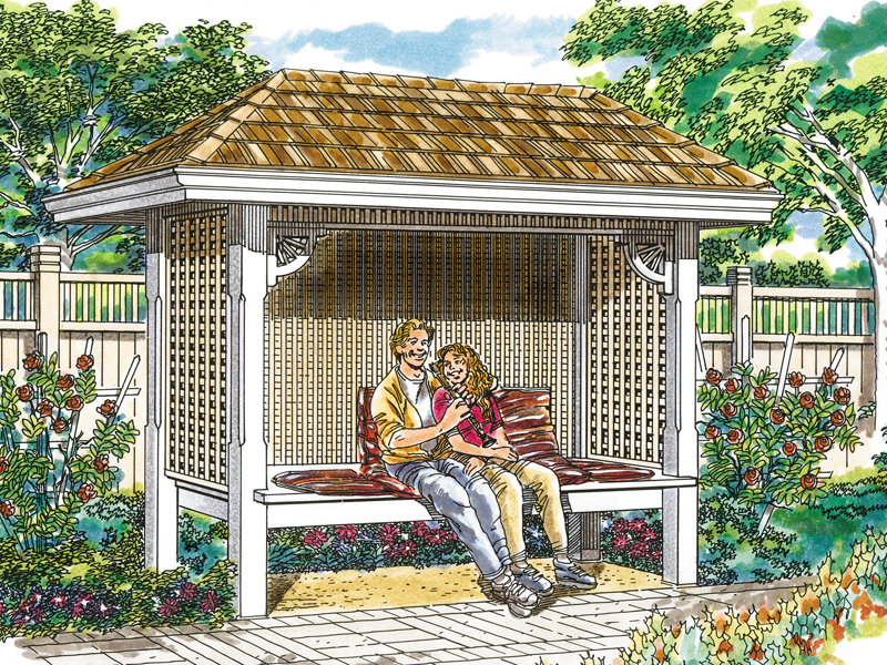 Fully covered arbor style bench has shingle roof and lattice walls for added character