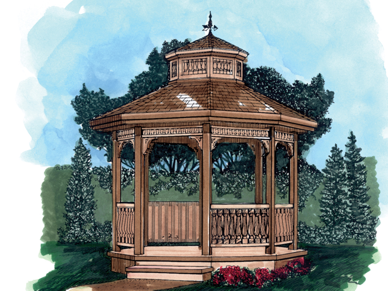 Stunning eight-sided gazebo is a great focal point for the backyard