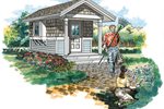 Garden shed has covered front porch and charming shingle siding