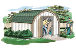 Economical style barn structure offers a spacious place for yard equipment and gardening supplies