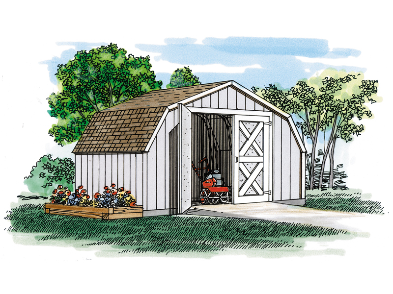 This country style gambrel shed offers a spacious backyard storage solution