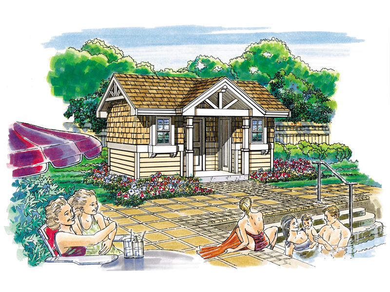 This rustic pool cabana has shingle siding and a Craftsman style gable topped covered porch