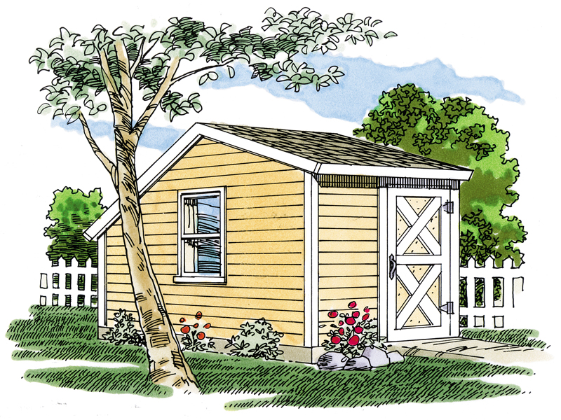 This saltbox storage shed has a side window for added light and a barn style front door
