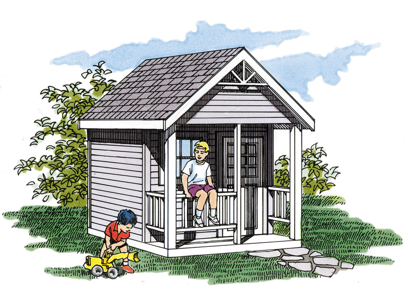 This terrific playhouse has a covered front porch and is perfect for your children