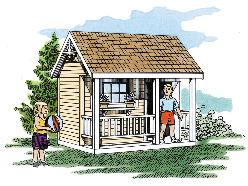 This rustic playhouse with covered porch provides a fun way for your children to enjoy the backyard