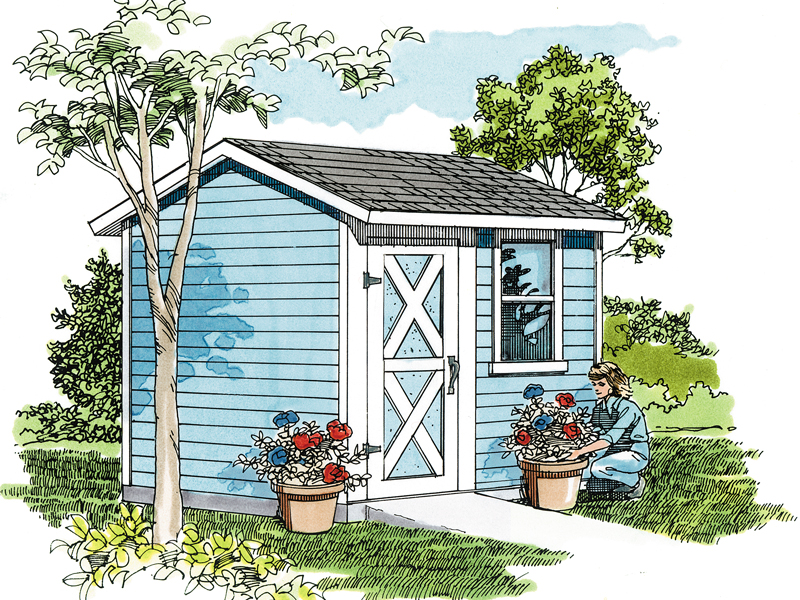 This basic storage shed has a front barn style door and window for added sunlight
