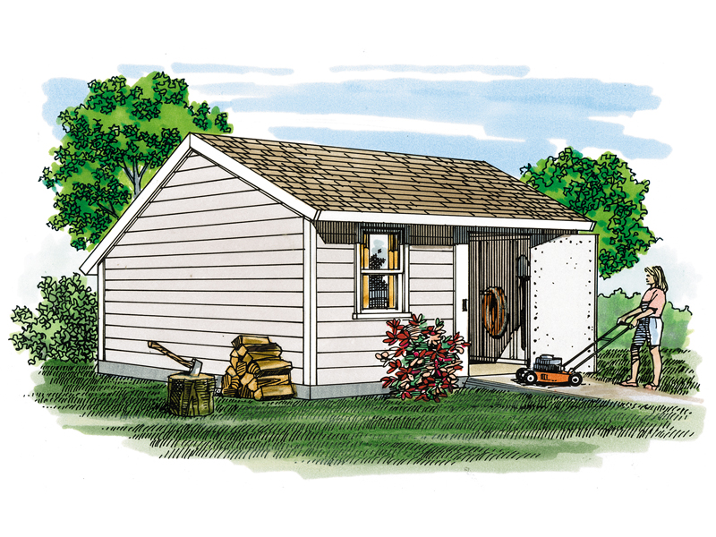 Saltbox storage shed has a low pitch roof and simple style