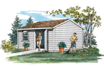 This storage shed has a low pitch roof and a front door and window for ease with storage