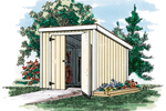 This basic shed has a slanted roof and simple double doors