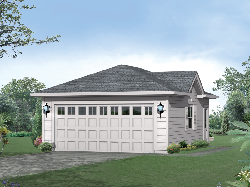 Gabled two-car garage with lights on each side of the garage door