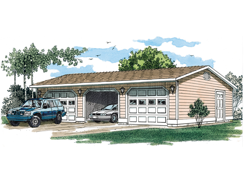 Functional three-car garage with siding exterior