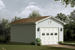 One-car garage with lights on each side of the garage door