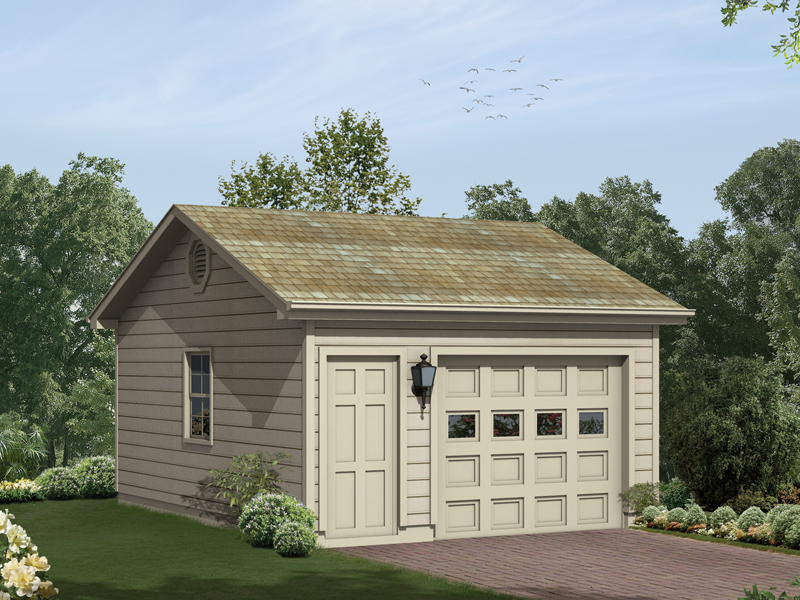 One-car garage with entry door and side window