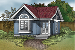 Quaint cottage style has covered front porch and arched box-bay window