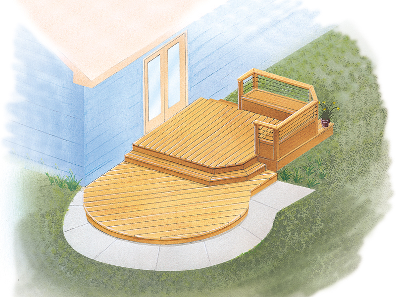 Contemporary curved deck has three sections and level and one with a railing