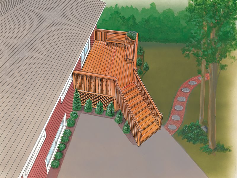 Raised mid-level deck has stairs connecting the house to the ground