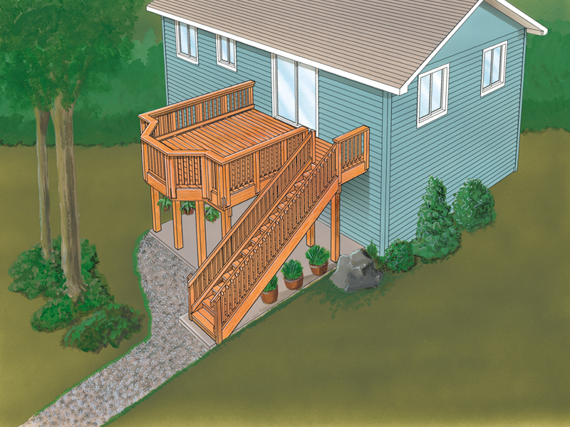Split-level deck has a bayed deck space and stairs to the ground level
