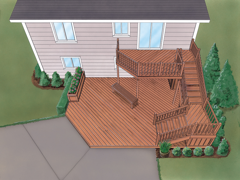 Grafton split level deck plan 064d 3008 house plans and more for Bi level house with front porch