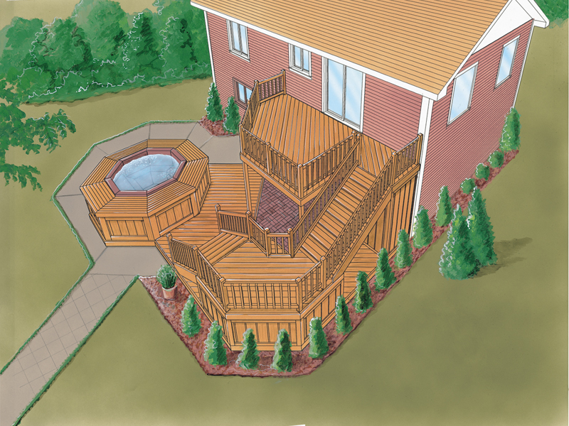 Multi-level deck has space designed for a whirlpool space