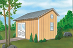 This saltbox storage shed has side double doors and a roomy interior