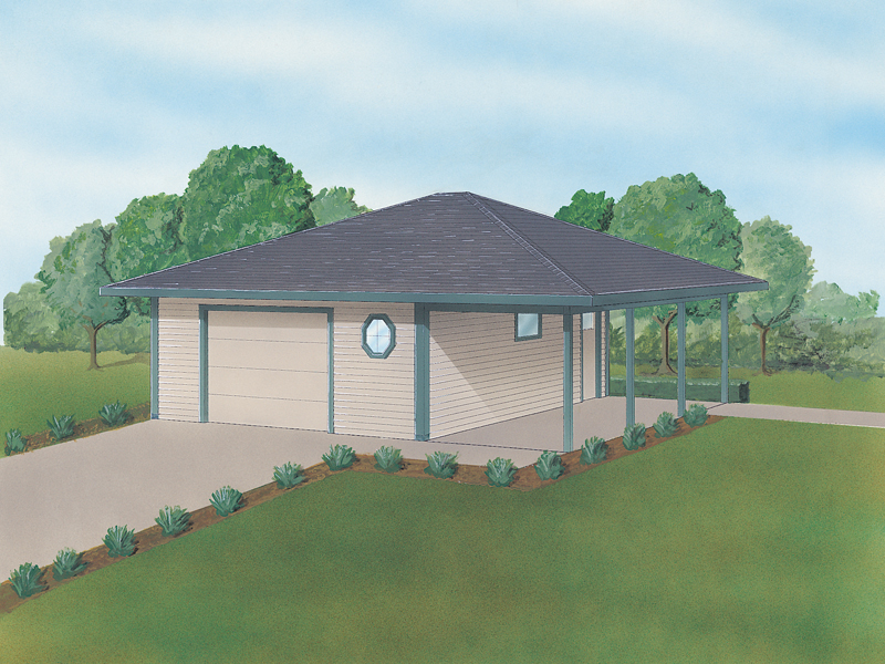 One and half car garage with attached carport and circle windows