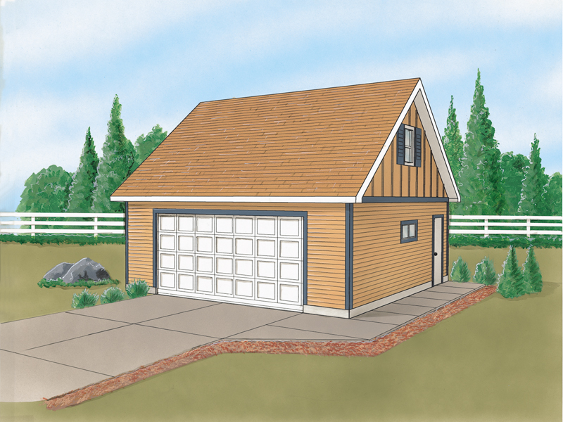 Two-car garage with loft above and side entry door